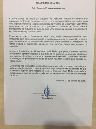 Carta foi subscrita por outros 17 deputados. No dia de hoje (27), 11 deputados estivaram reunidos com Melo