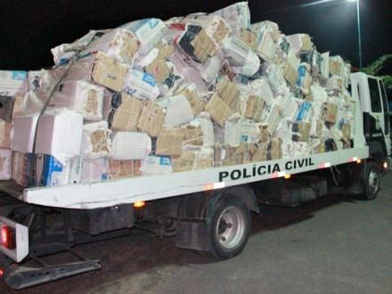 Cem mil carteiras de cigarros paraguaios contrabandeadas, apreendidas na capital