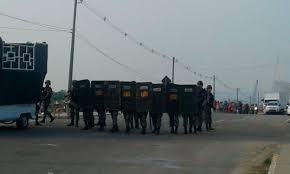 A Policia Militar, acompanhou o protesto