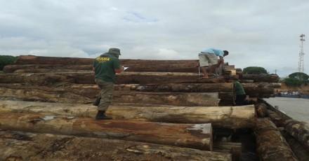 Madeira ilegal apreendida no Ri, em P arintins