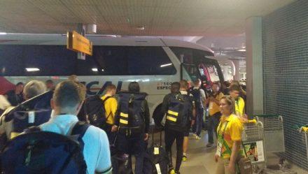 A Seleção doo futebol olímpico da Suécia, desembarcou ontem tarde, em Manaus
