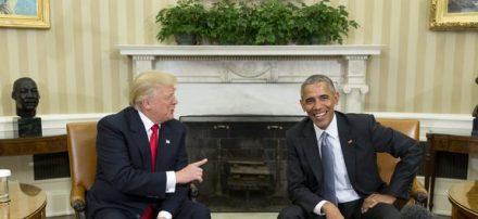 O presidente eleito dos Estados Unidos, Donald Trump, reúne-se com o atual presidente, Barack Obama, para iniciar a transição